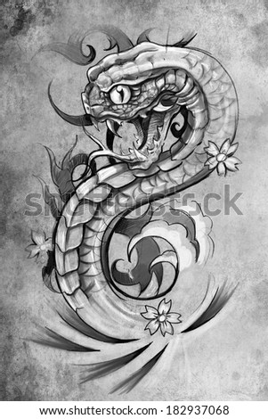 tattoo illustration, handmade draw over vintage paper - stock photo