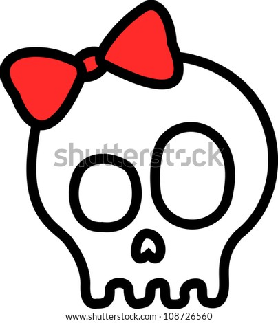 Tattoo-like skull adorned with a red lace.