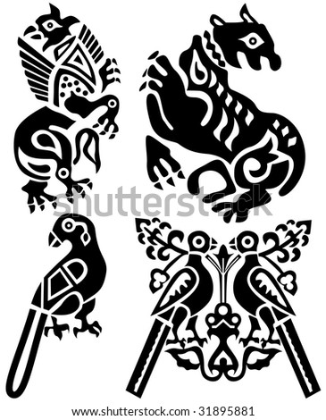 Tattoo of birds and mythical animals . Ancient China. Look more tattoo in my portfolio.