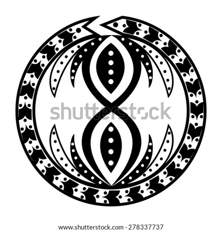 Tattoo round made in the style ouroboros, ethnic motifs and cyclical life, infinity.