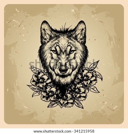 tattoo wolf with flowers.bitmap version - stock photo