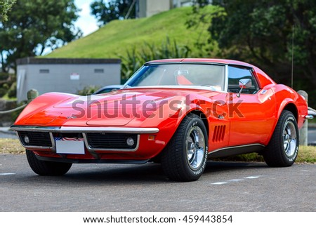 TAURANGA, NEW ZEALAND - 27 FEBRUARY 2015: The Chevrolet Corvette Coupe Stingray 1974. The 1969 through 1976 models mark the second generation of the Corvette Stingray.