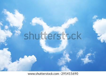 Taurus cloud zodiac sign on sky. - stock photo