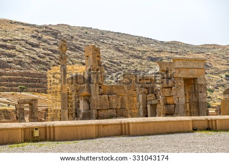 Taurus head part of the old wall of the ruins of old city Persepolis. - stock photo