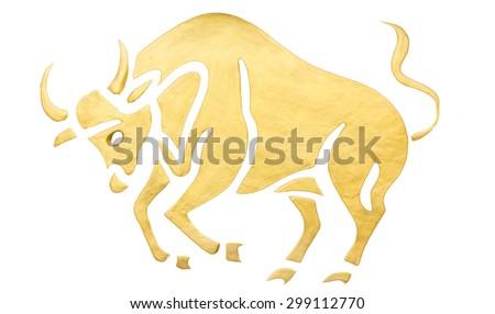 Taurus sign of horoscope isolated on white - stock photo