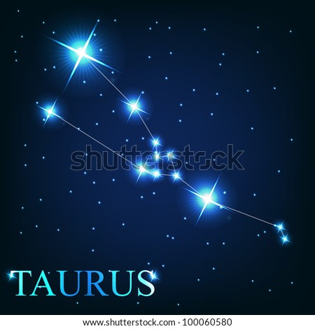 Taurus zodiac sign of the beautiful bright stars on the background of cosmic sky - stock photo