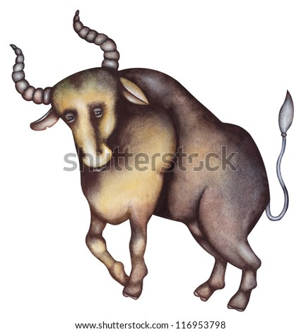 Taurus. Zodiac sign, symbol in watercolor style. Part of a set ot 12 - stock photo