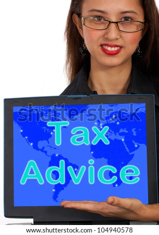Tax Advice Computer Message Showing Taxation Help Online - stock photo