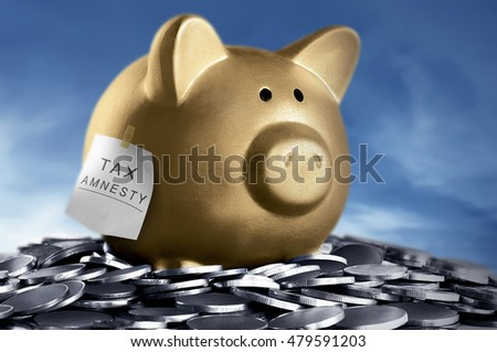 Tax amnesty quote tacked on gold piggy bank and coins