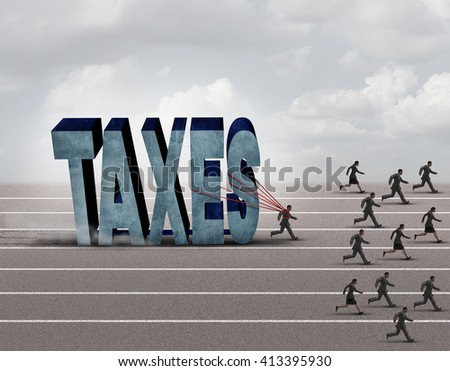 Tax burden business concept as a slow burdened taxpayer pulling a heavy rock shaped as a 3D illustration taxes text as other people run on a path - stock photo