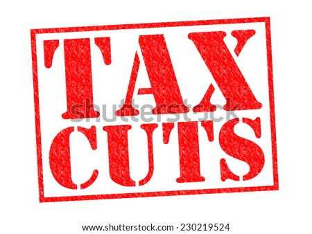 TAX CUTS red Rubber Stamp over a white background. - stock photo