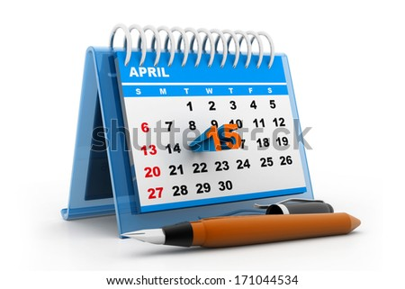 Tax day calender - stock photo