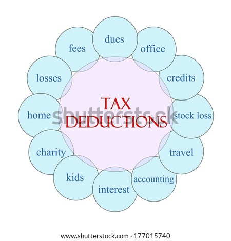 Tax Deductions concept circular diagram in pink and blue with great terms such as dues, office, credits and more. - stock photo