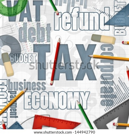 tax financial business background illustration - stock photo