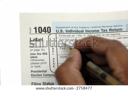 Tax form and instructions isolated on a white background