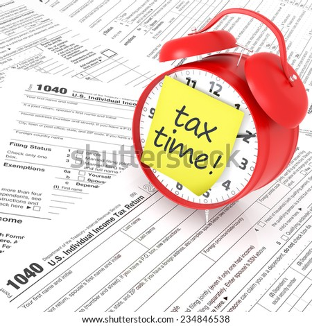 Tax Form and Red Alarm Clock. 3D Rendering - stock photo