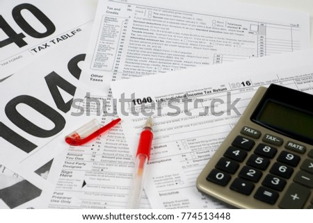 tax form 1040 and tables, difficult fill concept