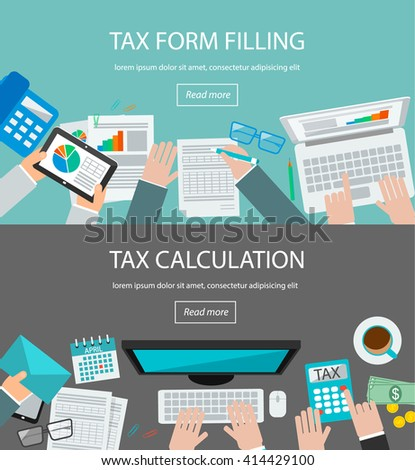 Tax form filling and tax calculation concepts with table top view and human hands calculating taxes and analyzing financial data on laptop and tablet, illustration - stock photo