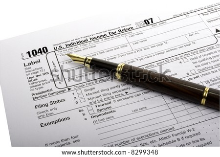 Tax Form with gold nibbed Fountain Pen (clipping path included)