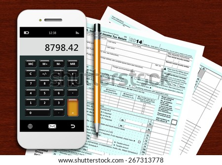 tax form 1040 with phone calculator and pencil lying on wooden table - stock photo