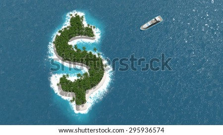 Tax haven, financial or wealth evasion on a dollar shaped island. A luxury boat is sailing to the island. - stock photo