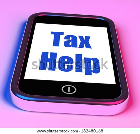Tax Help On Phone Showing Taxation Advice Online - stock photo