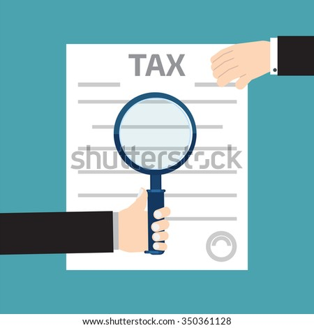 Tax inspector concept illustrations with hand, flat style - stock photo