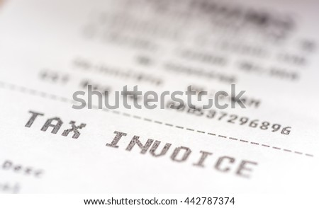 Tax invoice receipt with macro view - stock photo