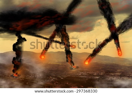 tax like asteroids falling on businessmen and financial plans. It's hell on earth - stock photo