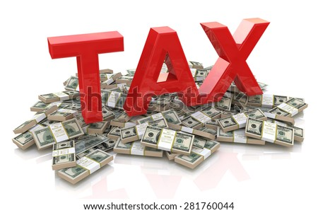 Tax on dollar currency  - stock photo