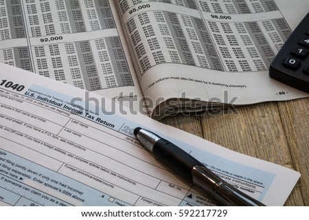 Tax Preparation Forms Tax Tables Us Stock Photo 592217729 Shutterstock