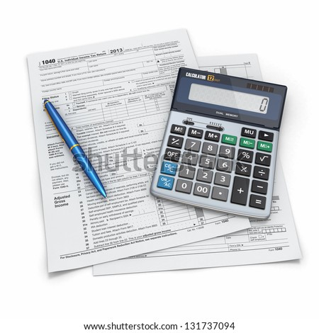 Tax Return 1040, calculator and pencil on white background. 3d - stock photo
