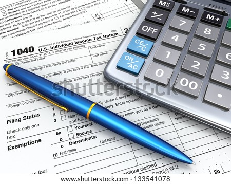 Tax Return 1040, calculator and pencil on white background. 3d