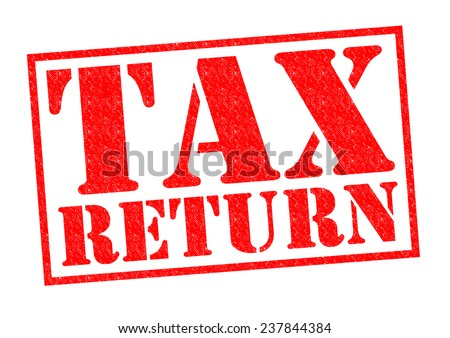 TAX RETURN red Rubber Stamp over a white background. - stock photo