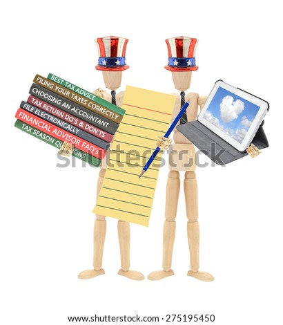 Tax Season Stack of Books( Best Tax Advise, Choosing Accountant, Filing, Do's and Don'ts, Financial Advisor)Mannequin wearing tie holding Digital Tablet - stock photo