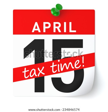 Tax Time Calendar Paper. Isolated 3D Rendering - stock photo