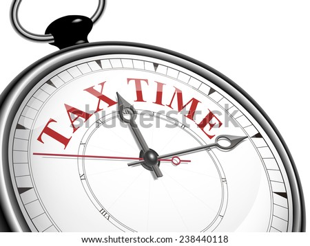 tax time concept clock isolated on white background - stock photo