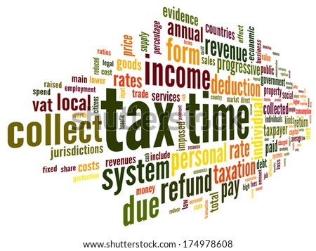 Tax time concept in word tag cloud on white background