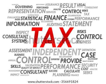 TAX word cloud, business concept - stock photo