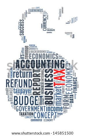 Tax word collage in exploding bomb shape - stock photo