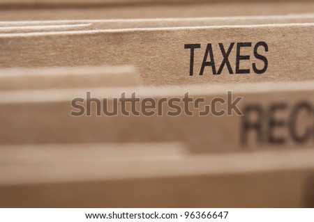 Taxation section tab in folding file.
