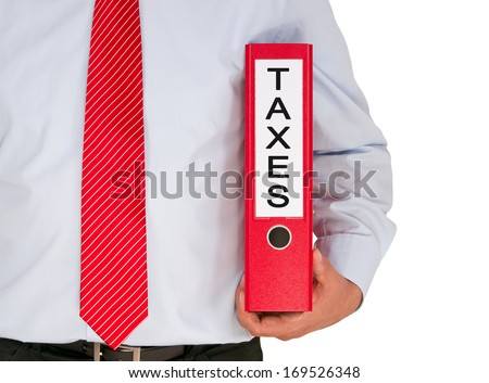 Taxes - businessman with binder on isolated white background - stock photo
