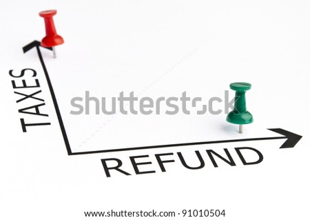 Taxes chart with green pin - stock photo