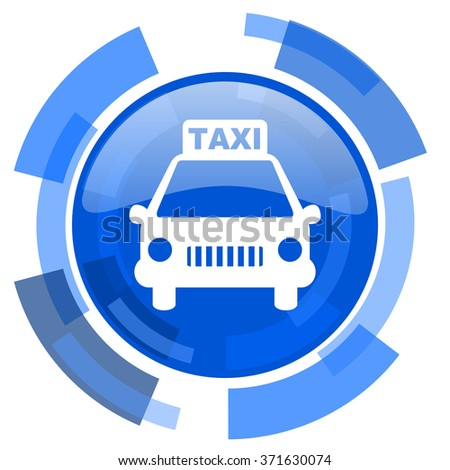 taxi blue glossy circle modern web icon