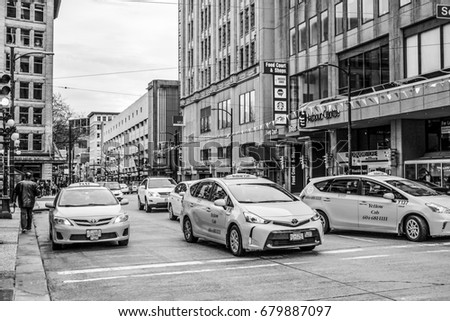 Taxi Cabs in the city of Vancouver - VANCOUVER / CANADA - APRIL 12, 2017