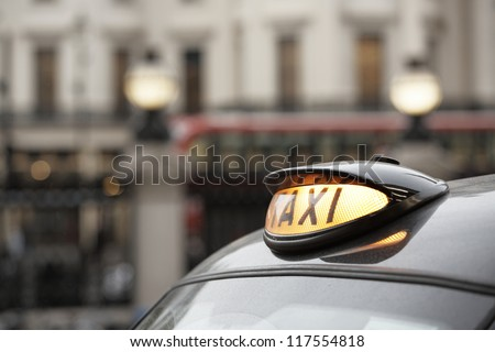 Taxi car in London - selective focus