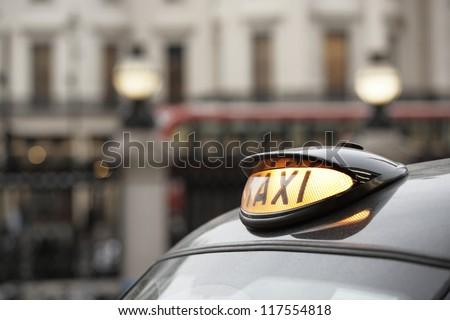 Taxi car in London - selective focus - stock photo