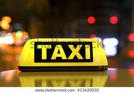 Taxi car sign on cab's top on city street . Night scene, selective focus. 3D illustration