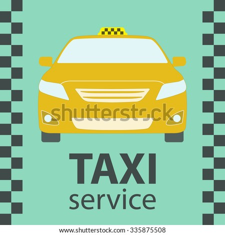 Taxi car symbol. Front view. Taxi service design element. - stock photo