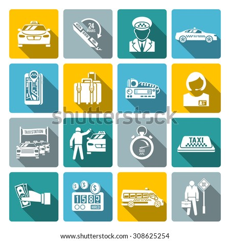 Taxi driver transportation car service drive and payment white long shadow icons set isolated  illustration - stock photo